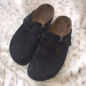 Navy Nubuck Birkenstock Boston Clog 38
